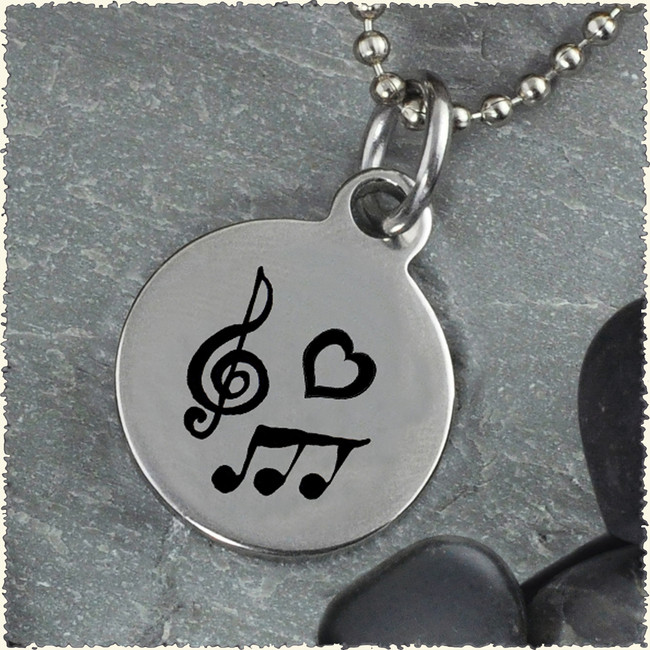 Music Reversible Stainless Steel Pendant
