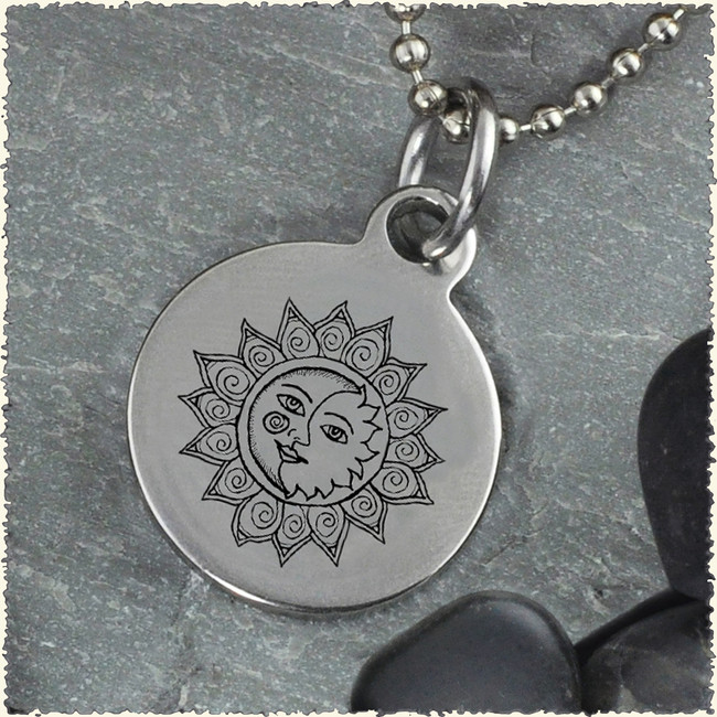 Sun Moon Reversible Stainless Steel Pendant