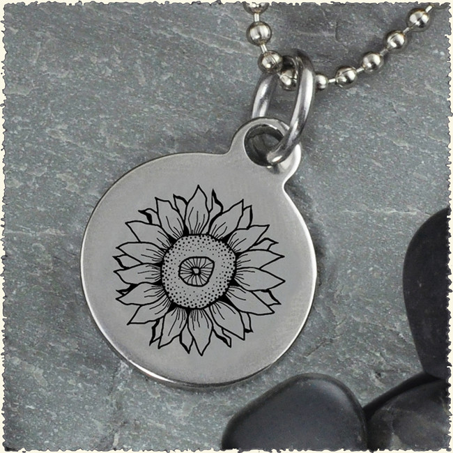 Sunflower Reversible Stainless Steel Pendant