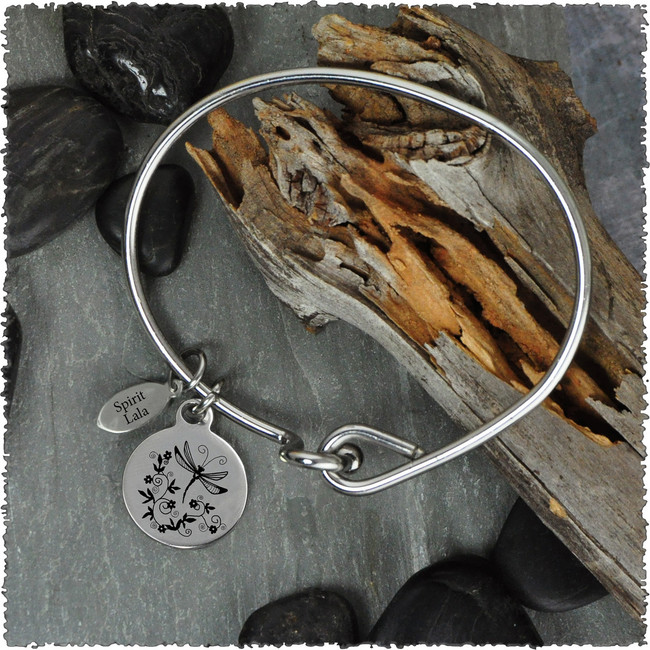 Dragonfly Scroll Stainless Bangle with Reversible Charm