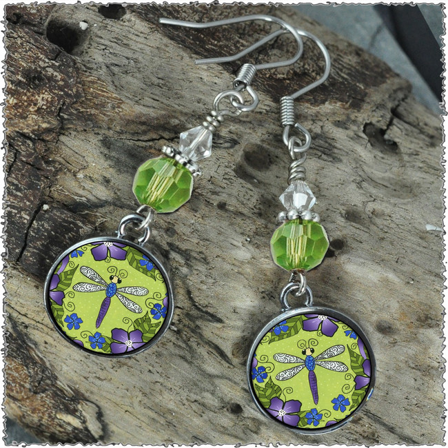 Dragonfly & Flowers Crystal Circular Earrings