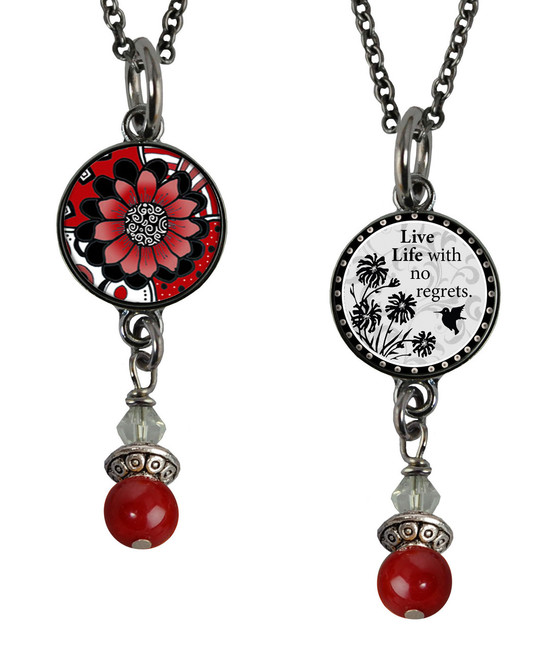 Black White Red Flower Small Circular Reversible Beaded Pendant
