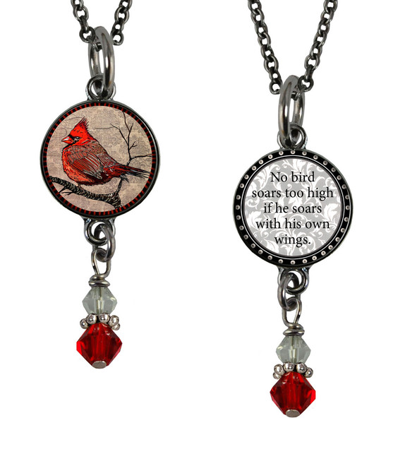 Cardinal Small Circular Reversible Beaded Pendant
