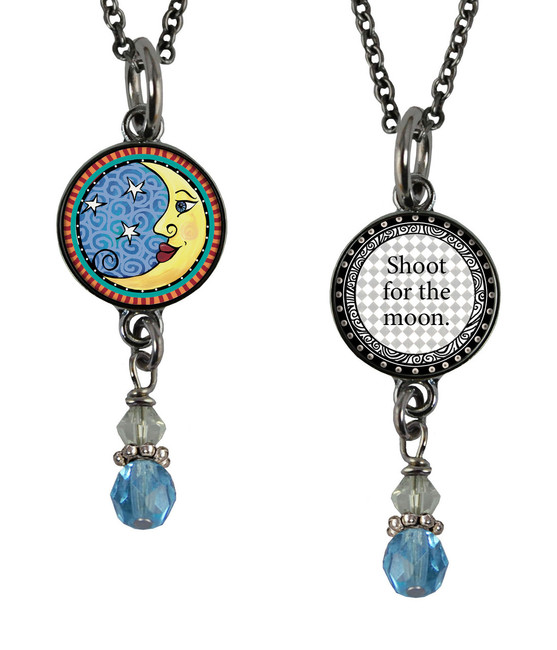 Moon Small Circular Reversible Beaded Pendant