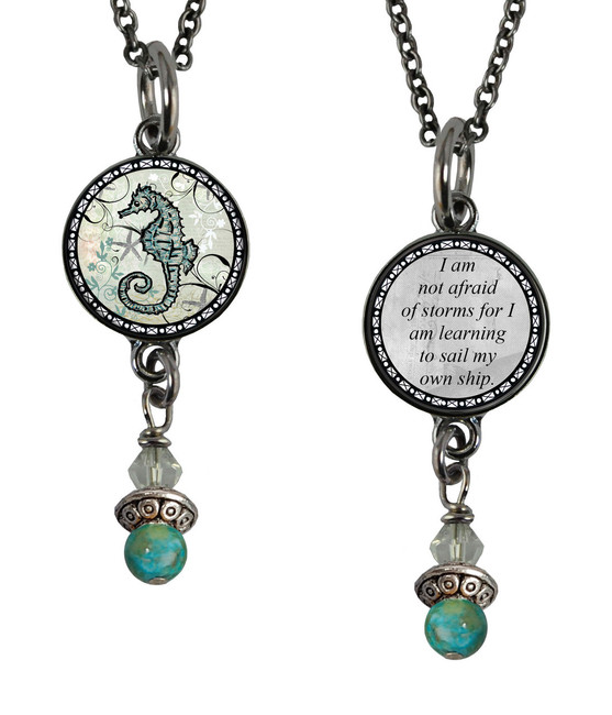Seahorse Small Circular Reversible Beaded Pendant