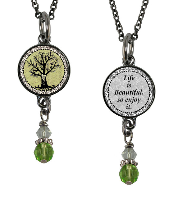 Vintage Tree of Life Green Small Circular Reversible Beaded Pendant