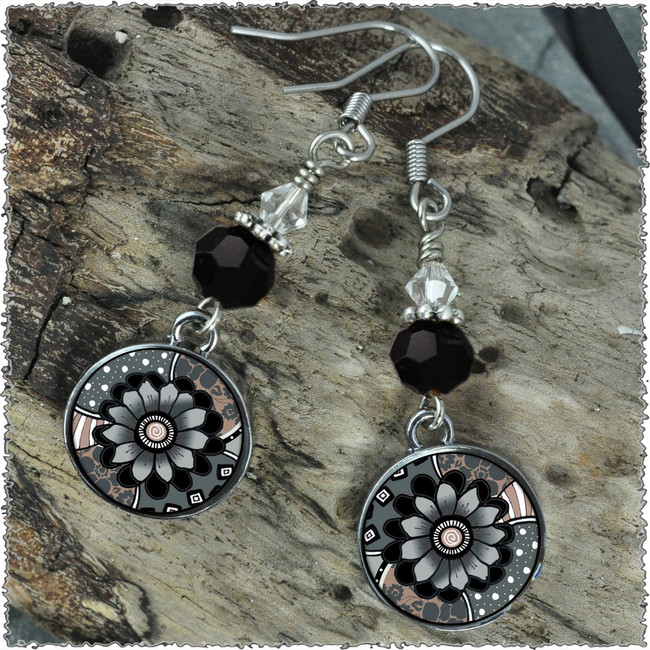 Grey Black Flower Crystal Circular Earrings