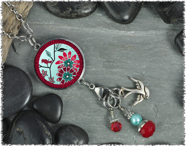 Bird Flower Reversible Circular Charm and Bead Pendant