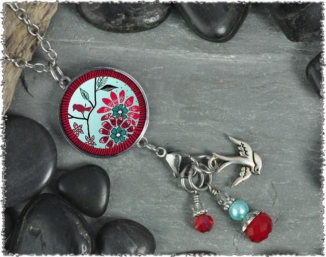 Bird Flower Reversible Circular Charm and Bead Pendant