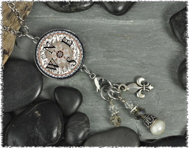 Compass Reversible Circular Charm and Bead Pendant