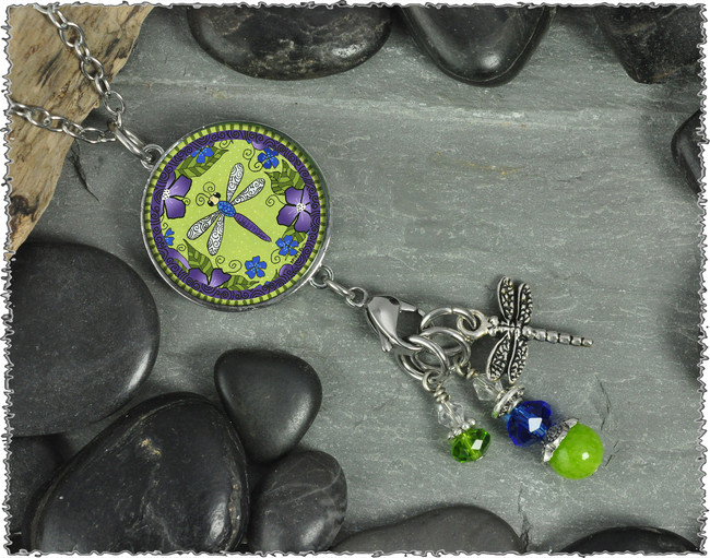 Dragonlfy with Flowers Reversible Circular Charm and Bead Pendant