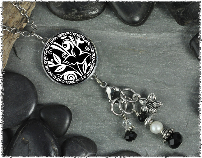 Flower Black Reversible Circular Charm and Bead Pendant