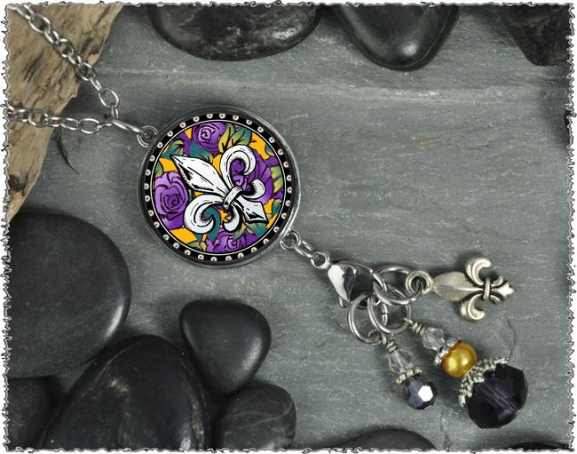 Flur De Lis Reversible Circular Charm and Bead Pendant