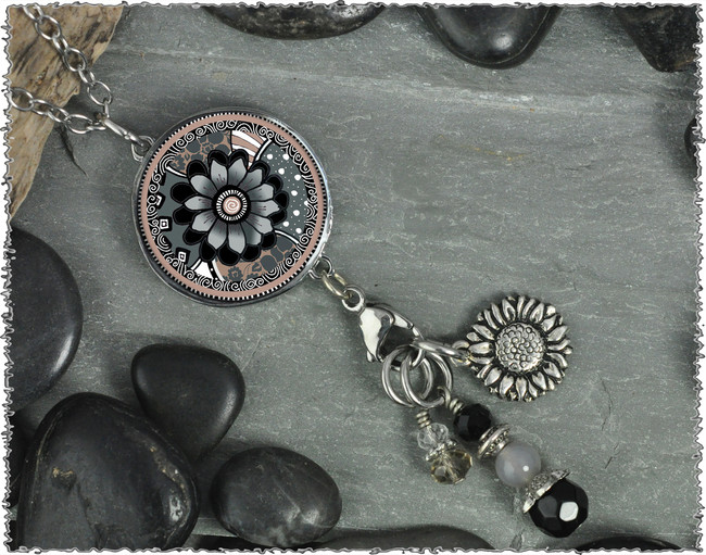 Gray Black Flower Reversible Circular Charm and Bead Pendant
