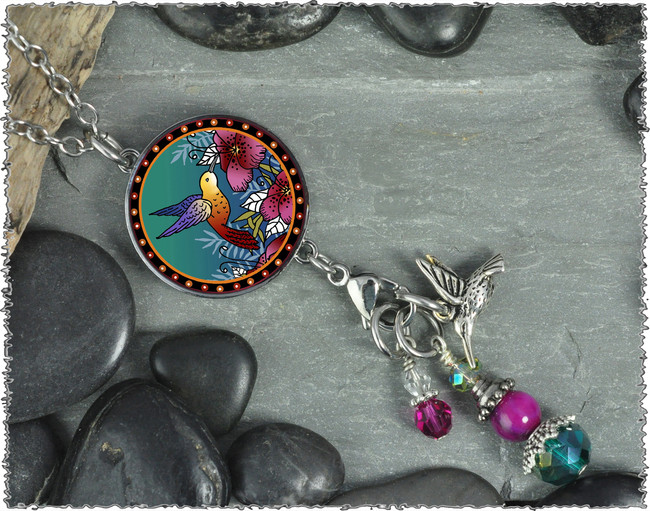 Hummingbird Reversible Circular Charm and Bead Pendant