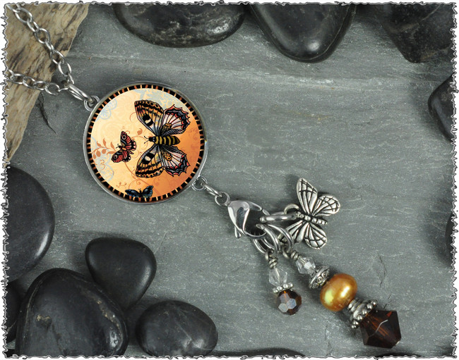 Orange Butterfly Reversible Circular Charm and Bead Pendant