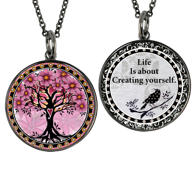 Tree of Life Pink Reversible Circular Pendant