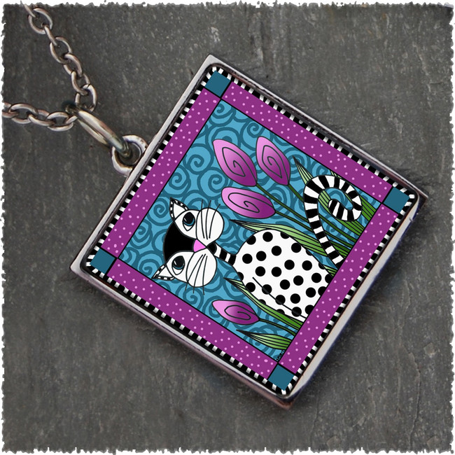 Black White Cat Reversible Square Pendant