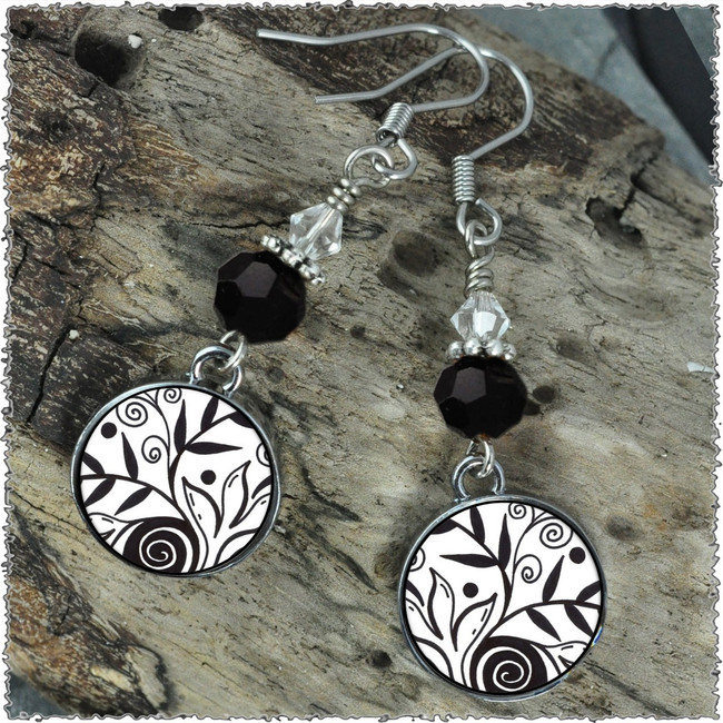 Leaf Black & White Crystal Circular Earrings