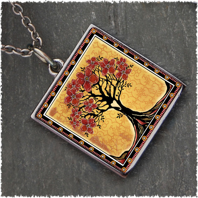 Tree of Life Yellow Square Reversible Pendant