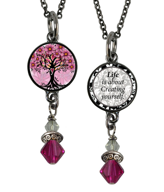 Tree of Life Pink Small Circular Reversible Beaded Pendant