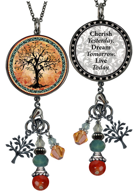 Tree of Life Orange Reversible Circular Charm & Bead Pendant