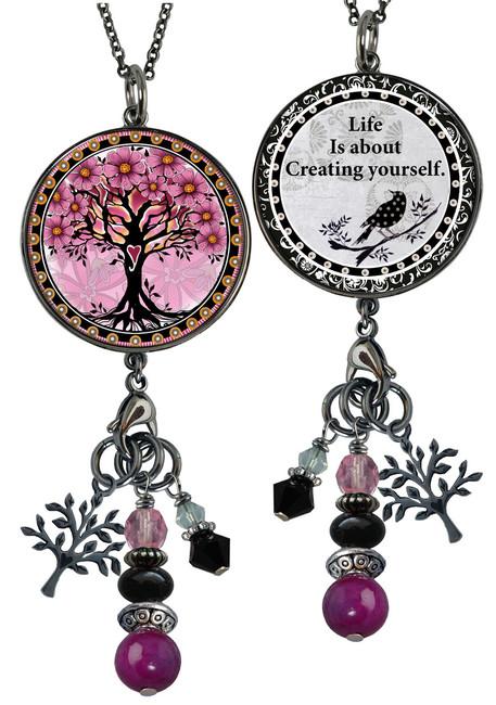Tree of Life Pink Reversible Circular Charm & Bead Pendant