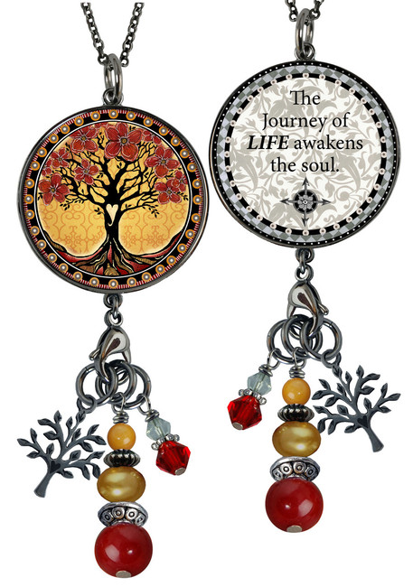 Tree of Life Yellow Reversible Circular Charm & Bead Pendant
