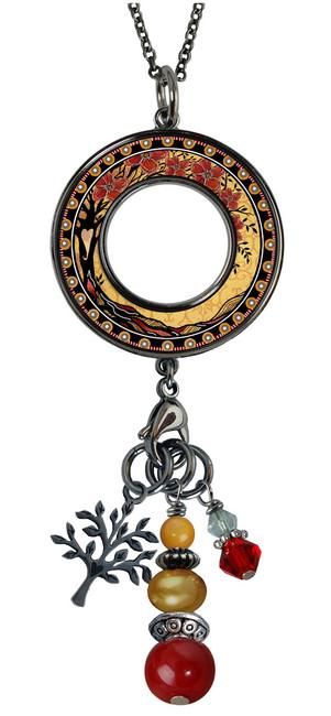 Tree of Life Yellow Reversible Beaded Open Circle Charm Pendant