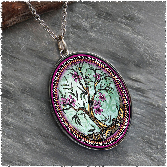 Tree of Life Fusia Reversible Silver Oval Pendant