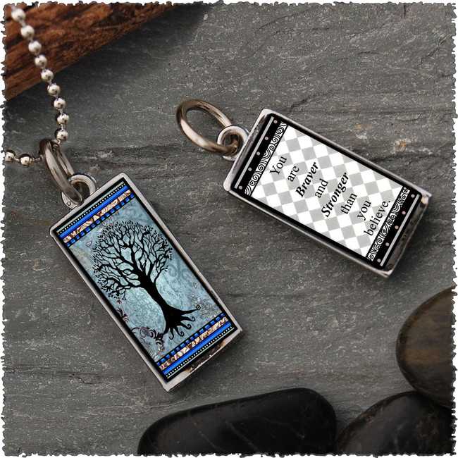 Tree of Life Dark Blue Revesible Rectangular Pendant