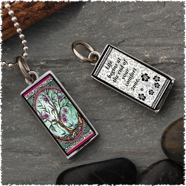 Tree of Life Fusia Revesible Rectangular Pendant