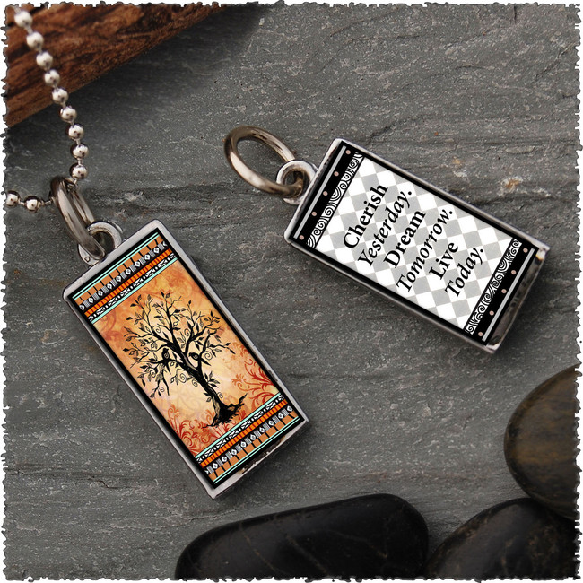 Tree of Life Orange Revesible Rectangular Pendant