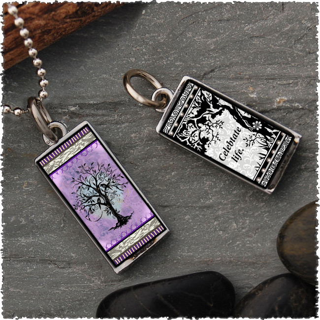 Tree of Life Purple Revesible Rectangular Pendant