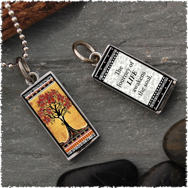 Tree of Life Yellow Revesible Rectangular Pendant