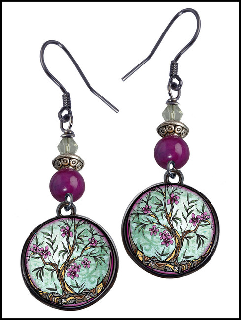 Tree of Life Fusia Crystal Circular Earrings