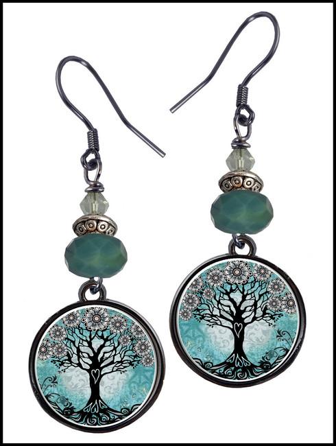 Tree of Life Teal Crystal Circular Earrings