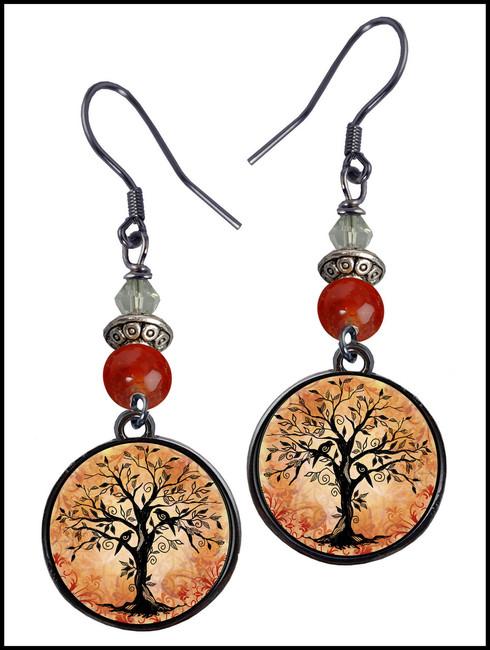 Tree of Life Orange Crystal Circular Earrings