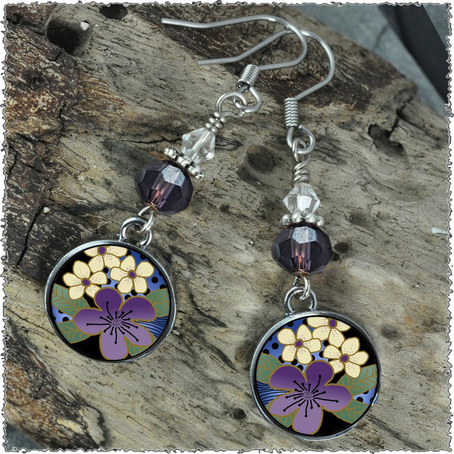 Purple Flower Crystal Circular Earrings