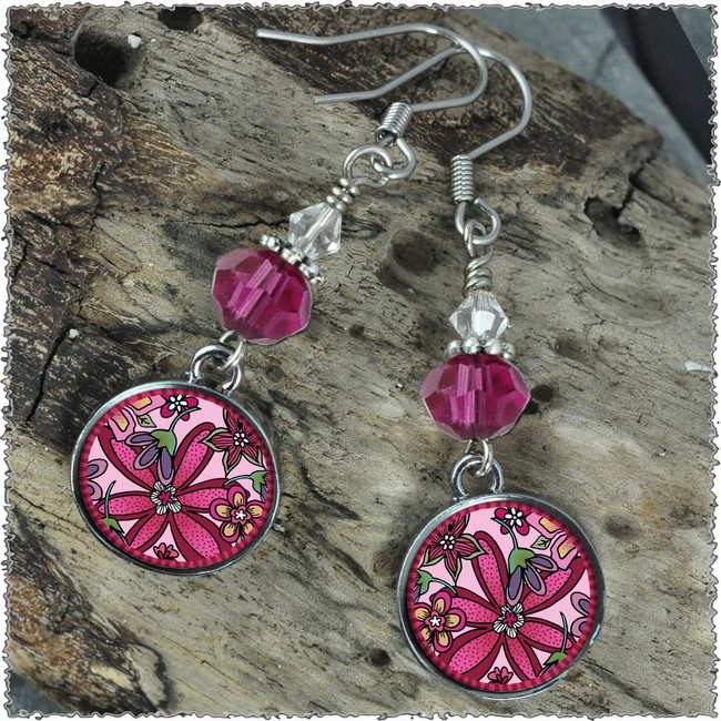 Pink Flower Crystal Circular Earrings