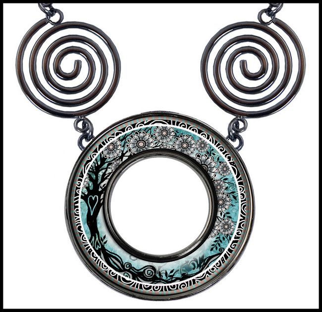 Tree of Life Teal Circle Spiral Necklace