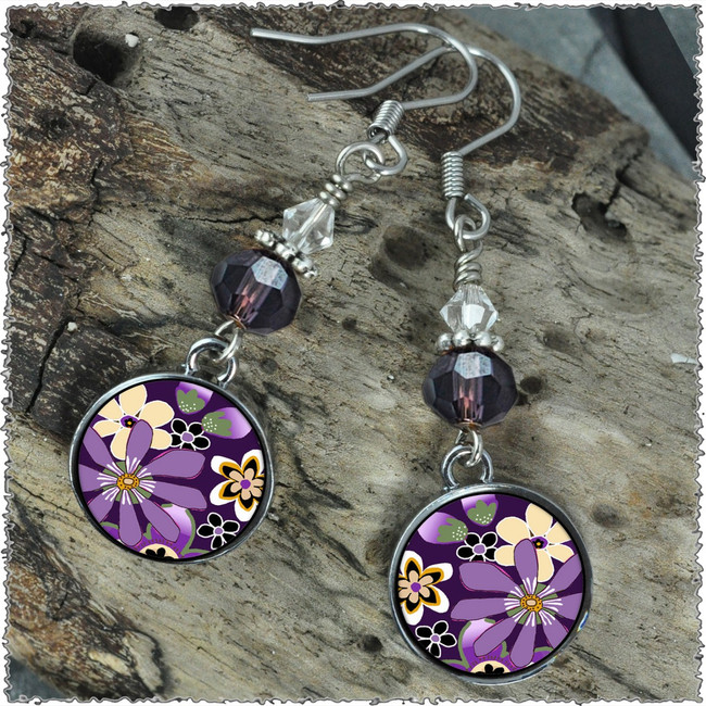Purple Retro Flower Crystal Circular Earrings