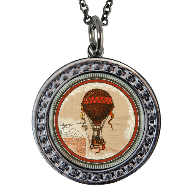 "Hot Air Balloon Circular Reversible Vintage ""Leaf"" Pendant"