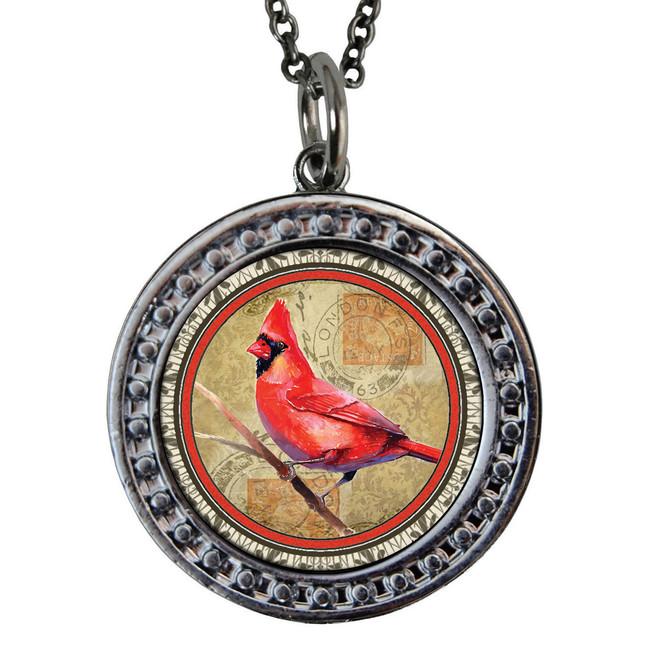 "Cardinal Circular Reversible Vintage ""Leaf"" Pendant"