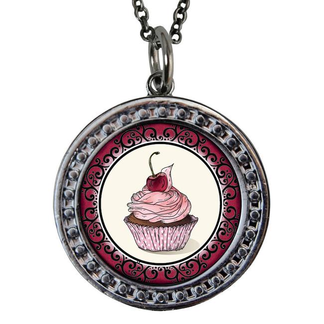 """Cupcake Circular Reversible Vintage """"Leaf"""" Pendant"""