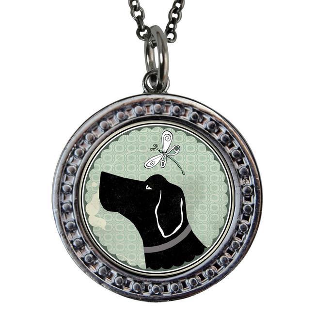 "Dog Circular Reversible Vintage ""Leaf"" Pendant"
