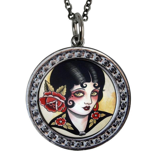 "Rose Girl Circular Reversible Vintage ""Leaf"" Pendant"