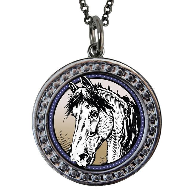 "Horse Circular Reversible Vintage ""Leaf"" Pendant"