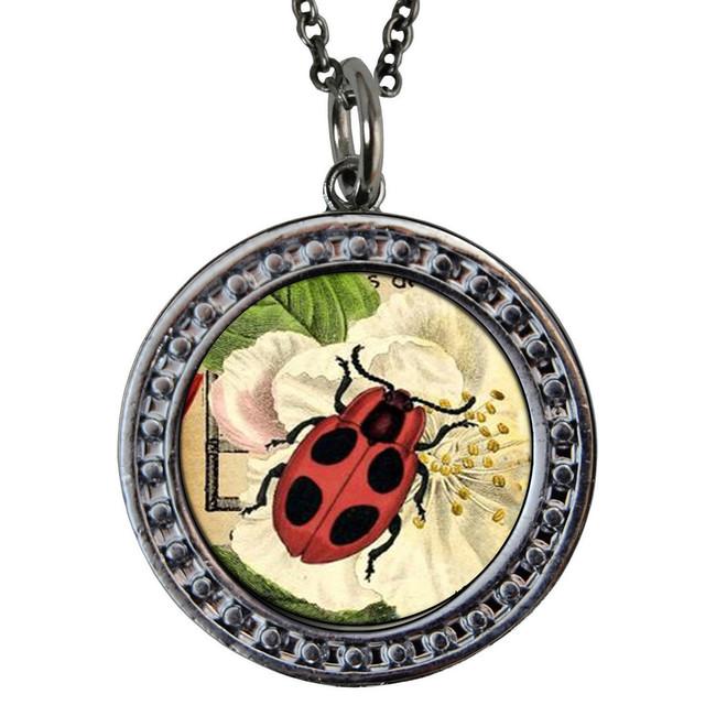 "Ladybug Circular Reversible Vintage ""Leaf"" Pendant"