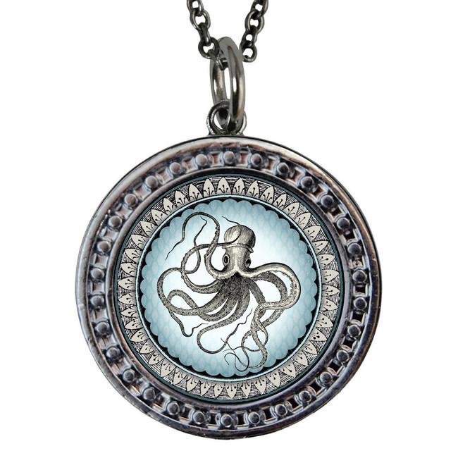 "Octopus Circular Reversible Vintage ""Leaf"" Pendant"